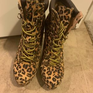 Leopard tie up boots